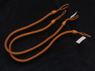 2 Rope Curtain Tiebacks Rust Slender Slinky Cord Drape